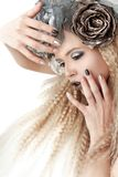Silver grey beige makeup and manicures Stock Photo