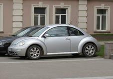 Silver grey Volkswagen New Beetle car Stock Photo