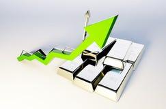 Silver growing graph Stock Photos