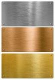 Silver, guld och brons belägger med metall högkvalitativa plattor fotografering för bildbyråer