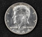 Silver half dollar coin of john Fitzgerald kennedy. 1964 Stock Photo