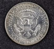 Silver half dollar coin of john Fitzgerald kennedy. 1964 Stock Photos