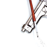 Silver handgun  and cigarette in cigarette holder Royalty Free Stock Images