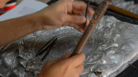 Silver handicrafts industry stock video