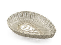 Silver handmade filigree basket Stock Image