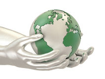 Silver hands and Earth. Model of silver hands and planet Earth Royalty Free Stock Photo