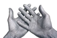 Silver hands Royalty Free Stock Image
