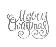 Silver handwritten inscription Merry Christmas Royalty Free Stock Images