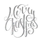 Silver handwritten inscription Merry Christmas Royalty Free Stock Photos