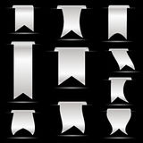 Silver hanging curved ribbon banners set eps10 Royalty Free Stock Images
