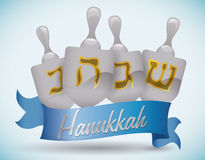 Silver Hanukkah's Dreidels with Ribbon, Vector Illustration Royalty Free Stock Images