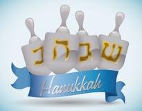 Silver Hanukkah's Dreidels with Ribbon, Vector Illustration royalty free stock images