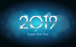 Silver Happy new year 2019 with abstract bokeh and lens flare pattern in vintage blue color background. Silver Happy new year 2019 with abstract bokeh and lens royalty free illustration