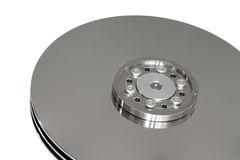 Silver hard disk. Silver disk of a fixed hard disk on white background Royalty Free Stock Image