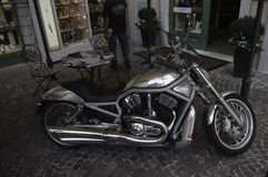 Silver Harley Davidson. Seriously chromed Harley Davidson photographed in Limone, Lake Garda, Italy Stock Photos