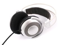 Silver headphone Stock Photos