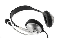 Silver headphone. Stock Image