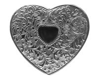 Silver heart. Silver made style heart with embossed pattern Stock Photo