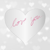 Silver heart badge with love you Stock Photos
