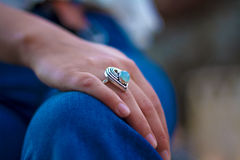 Silver Heart and Blue Gemstone Ring Stock Photography