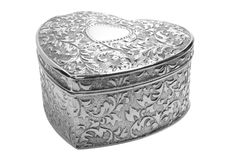 Silver heart box. Silver made style box in the form of heart Stock Images