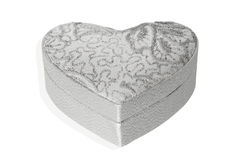 Silver heart box on white background. Silver heart box on a white background Stock Photos