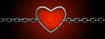 Silver heart and chain isolated on red. Love concept Royalty Free Stock Images
