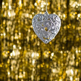 Silver heart christmas ornament Stock Image