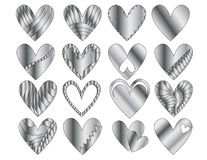 Silver Heart Collection. 16 Silver hearts, isolated on white Royalty Free Stock Photo