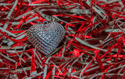 Silver heart, colorful small hearts  Valentines Day background Stock Photo