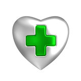 Silver heart with medical green cross sign. Silver heart shape with green cross inlay at the center. Isolated metallic glossy medical, nurse, hospital or first Stock Image
