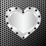 silver heart on metal background Royalty Free Stock Photos