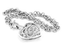 Silver Heart Necklace Stock Photo