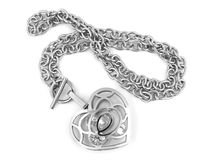 Silver Heart Necklace Royalty Free Stock Photography