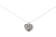 Silver heart pendant necklace Royalty Free Stock Photos