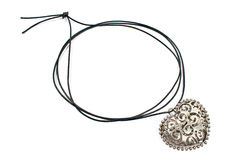 Silver heart pendant necklace Royalty Free Stock Photo