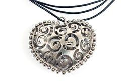 Silver heart pendant necklace Stock Photos