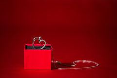Silver heart pendant in a red gift box Royalty Free Stock Photo