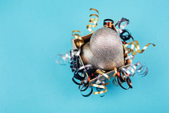 Silver heart in present box Royalty Free Stock Image
