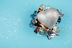 Silver heart in present box Stock Images