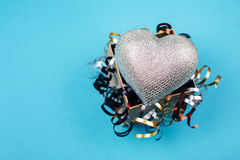 Silver heart in present box Royalty Free Stock Photo