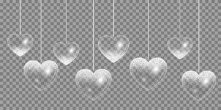Silver heart on a transparent background Stock Photography