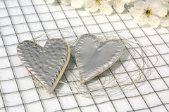 Silver hearts Royalty Free Stock Photos