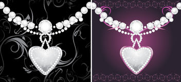 Silver hearts with diamonds Stock Images