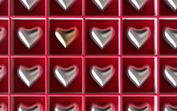 Silver hearts with one golden Royalty Free Stock Photo