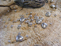Silver hearts valentine. Silver hearts for valentine day Stock Photography