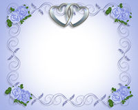 Silver Hearts Wedding Invitation. 3D silver hearts with blue roses for Wedding, Mother's Day, anniversary or engagement party invitation, background, frame or Stock Image