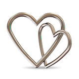 Silver Hearts on white background Stock Photography