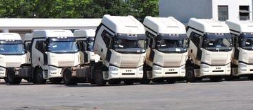 Silver heavy trucks Royalty Free Stock Photo