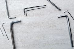 Silver Hex keys on a white background stock image